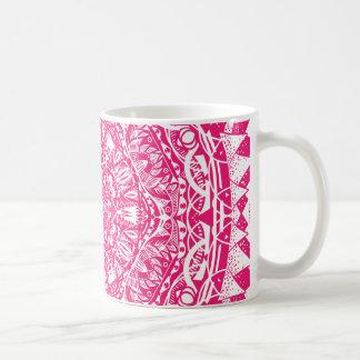 Caneca De Café Teste padrão cor-de-rosa da mandala