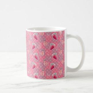 Caneca De Café Teste padrão cor-de-rosa da morango do abacaxi