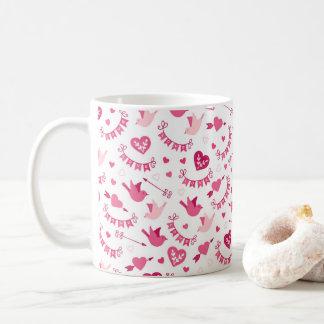 Caneca De Café Teste padrão cor-de-rosa das setas dos pássaros
