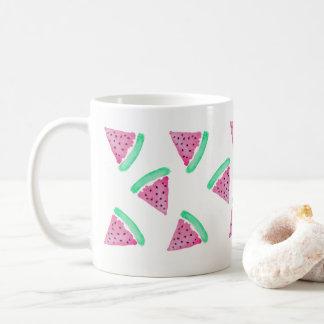 Caneca De Café Teste padrão cor-de-rosa e verde da melancia da