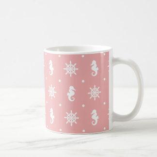 Caneca De Café Teste padrão coral cor-de-rosa náutico