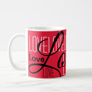 Caneca De Café Teste padrão da arte da palavra do amor