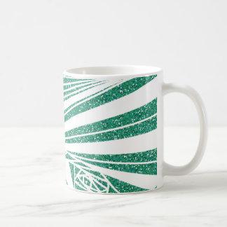 Caneca De Café Teste padrão da espiral do brilho de turquesa na