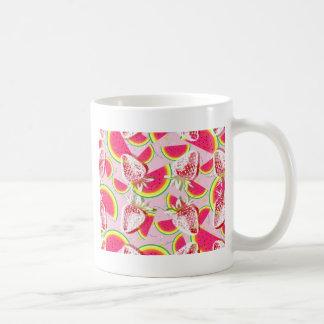 Caneca De Café Teste padrão da festa do melão das morangos