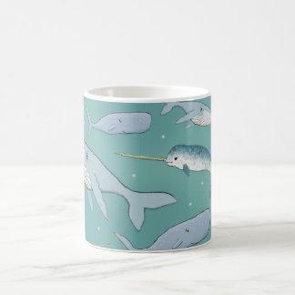 Caneca De Café Teste padrão da parada da baleia