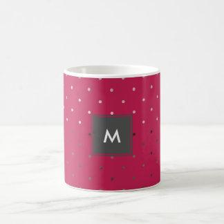 Caneca De Café teste padrão de bolinhas cor-de-rosa do rosa do