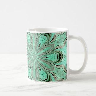 Caneca De Café Teste padrão de flor de turquesa (K361)