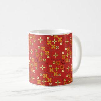 Caneca De Café Teste padrão de flor dourado vermelho