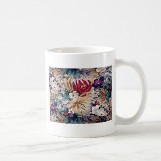 Caneca De Café Teste padrão de flor tropical retro