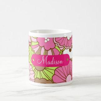 Caneca De Café Teste padrão de flores verde cor-de-rosa conhecido