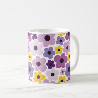 Caneca De Café Teste padrão de flower power