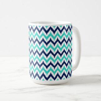 Caneca De Café Teste padrão de Ikat do ziguezague do branco, da