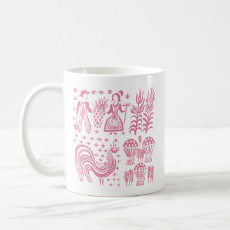 Caneca De Café Teste padrão de Pyrex do vintage - rosa de