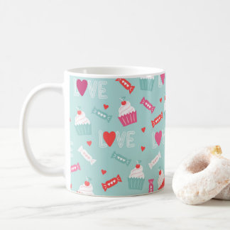 Caneca De Café Teste padrão do amor dos corações do cupcake do