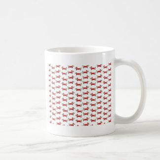 Caneca De Café Teste padrão do dachshund do Natal