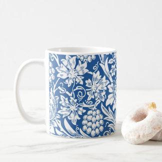 Caneca De Café Teste padrão do girassol em azul & em branco