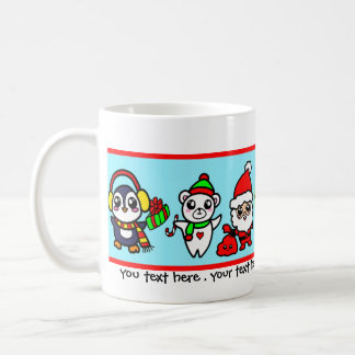 Caneca De Café Teste padrão doce do caráter do Natal de Kawaii