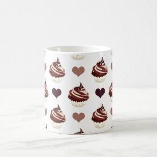 Caneca De Café teste padrão dos cupcakes do chocolate