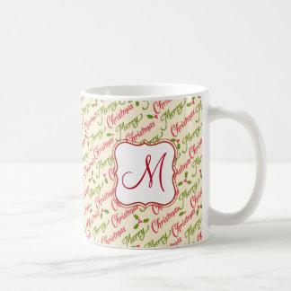 Caneca De Café Teste padrão e azevinho da tipografia do Feliz