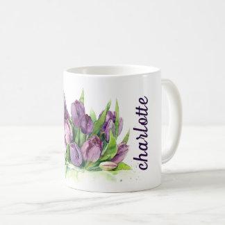 Caneca De Café Teste padrão floral da aguarela das tulipas roxas