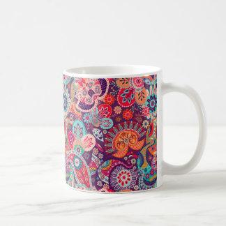 Caneca De Café Teste padrão floral de néon cor-de-rosa de Paisley