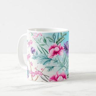 Caneca De Café Teste padrão floral do Chinoiserie