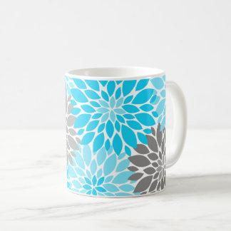 Caneca De Café Teste padrão floral dos crisântemos azuis e