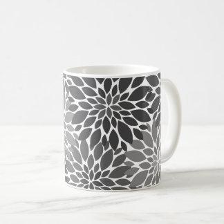 Caneca De Café Teste padrão floral dos crisântemos das cinzas de