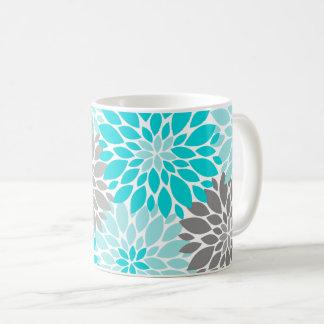 Caneca De Café Teste padrão floral dos crisântemos de turquesa e
