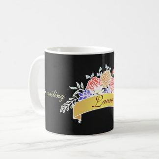 Caneca De Café Teste padrão floral elegante no quadro