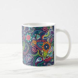 Caneca De Café Teste padrão floral multicolorido de néon de