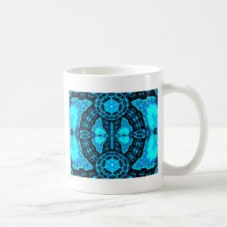 Caneca De Café Teste padrão Funky azul de néon moderno