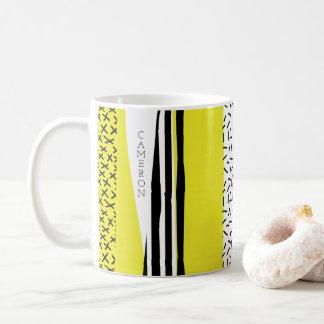 Caneca De Café Teste padrão geométrico da mistura amarela & preta