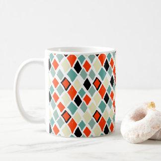 Caneca De Café teste padrão geométrico dos diamantes coloridos