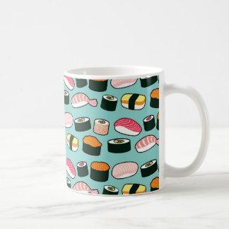 Caneca De Café Teste padrão ilustrado do sushi divertimento