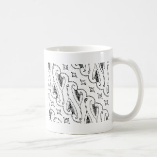Caneca De Café Teste padrão indonésio de matéria têxtil da folha