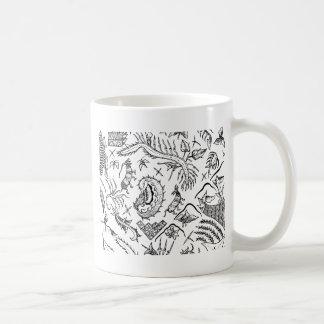 Caneca De Café Teste padrão indonésio de matéria têxtil dos