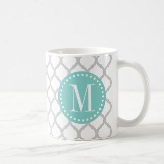 Caneca De Café Teste padrão marroquino cinzento & branco da luz -