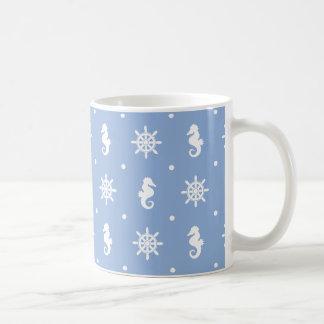 Caneca De Café Teste padrão náutico dos azul-céu
