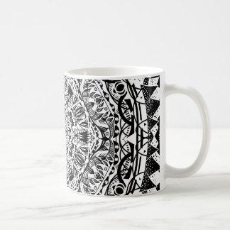 Caneca De Café Teste padrão preto e branco da mandala