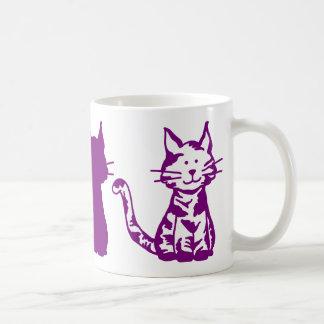 Caneca De Café Teste padrão roxo dos gatos