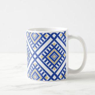 Caneca De Café Teste padrão tradicional azul da geometria