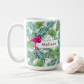 Caneca De Café Teste padrão tropical das folhas e costume