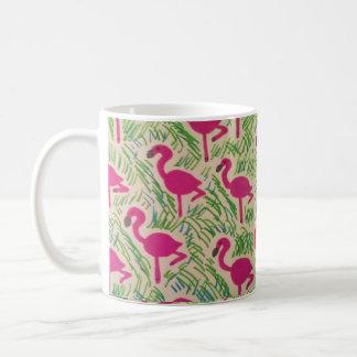 Caneca De Café Teste padrão tropical dos flamingos cor-de-rosa