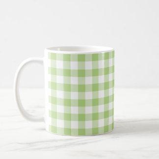 Caneca De Café Teste padrão verde do guingão do primavera