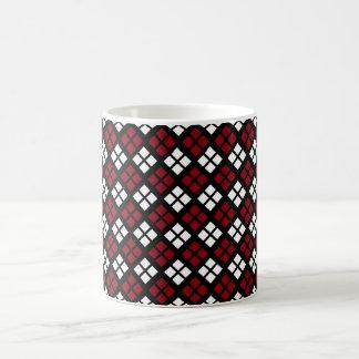 Caneca De Café Teste padrão vermelho & branco elegante de Argyle