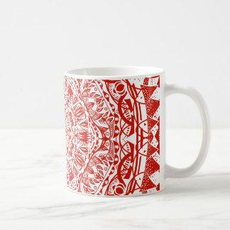 Caneca De Café Teste padrão vermelho da mandala