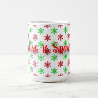 Caneca De Café Teste padrão vermelho e verde do floco de neve