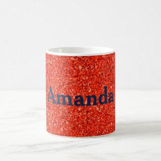 Caneca De Café Textura alaranjada vermelha personalizada