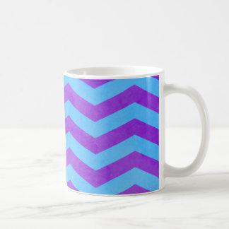 Caneca De Café Textura azul e roxa de Chevron da aguarela